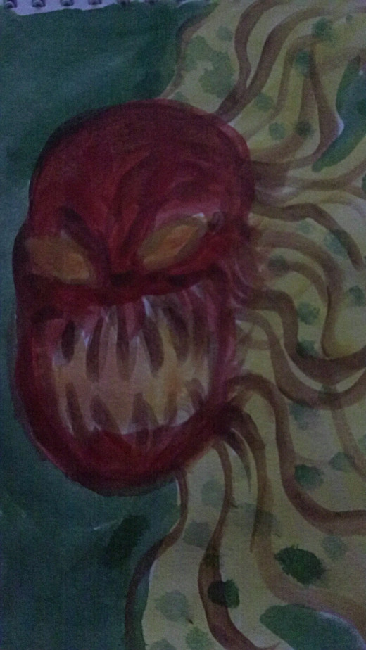 Demon tomato watercolor paint sketch.