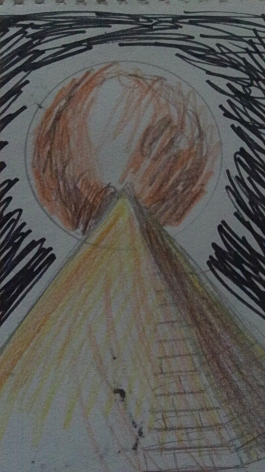 A planet and pyramid quick concept drawing