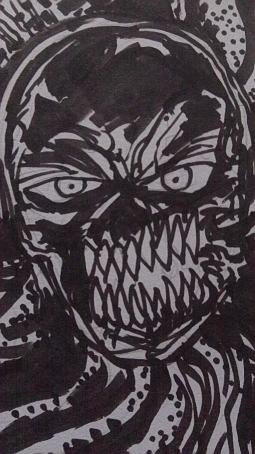 Demon with tentacles marker art.