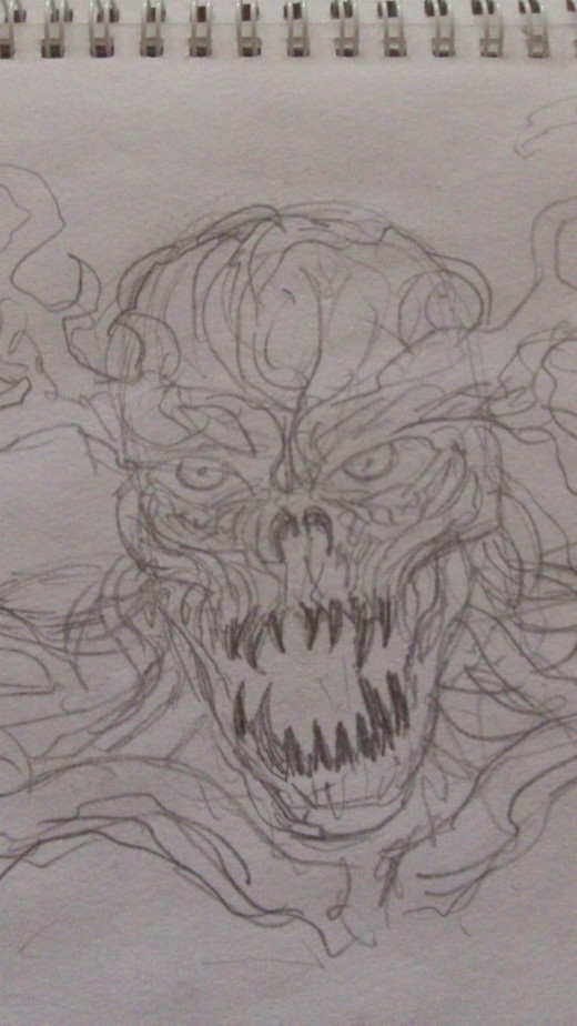 Tree God drawing in pencil.