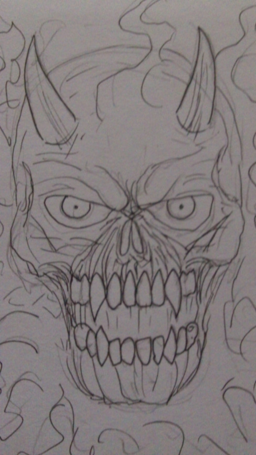 Satan's skull ink pen drawing
