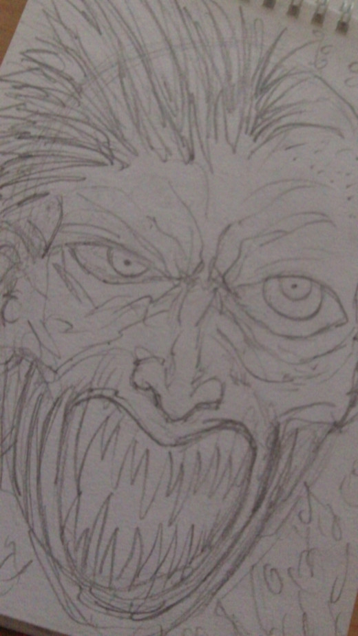 Freaky punk face screaming drawn with pencils