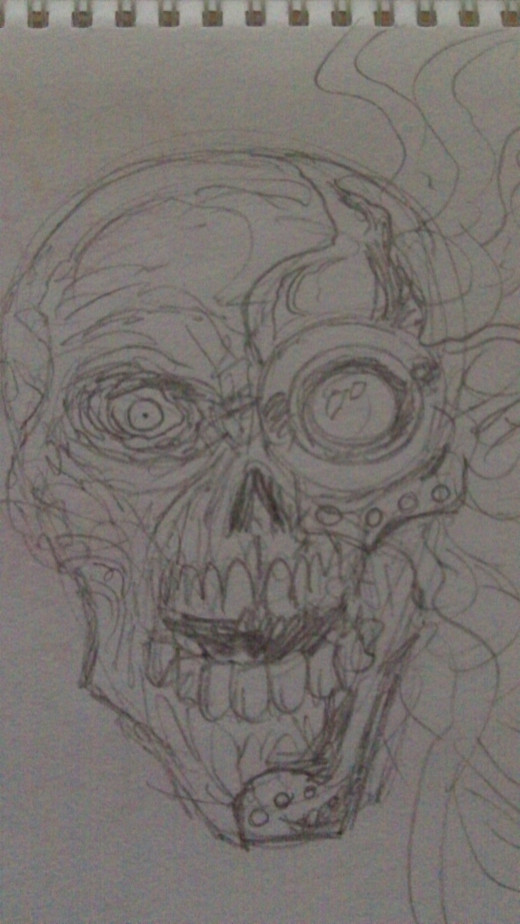 Cyborg skull drawing, quick sketch of a robot skull.