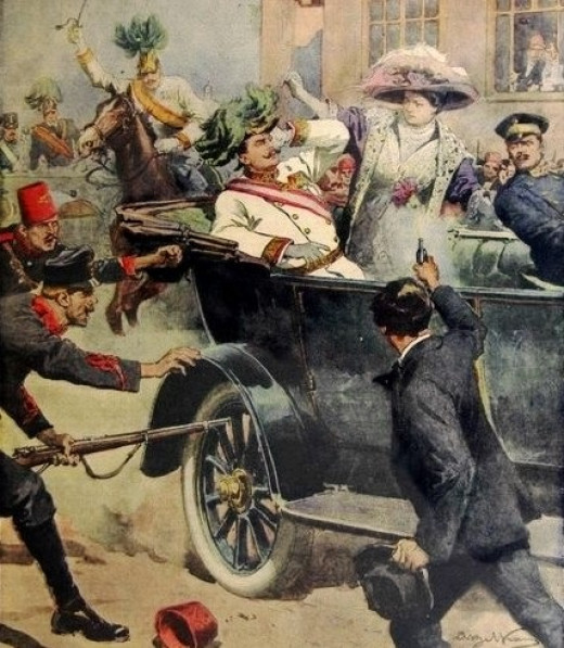 "Illustration of Franz Ferdinand Assassination by Achille Beltrame in July 12, 1914  edition of Italian Newspaper ""Domenica del Corriere"""