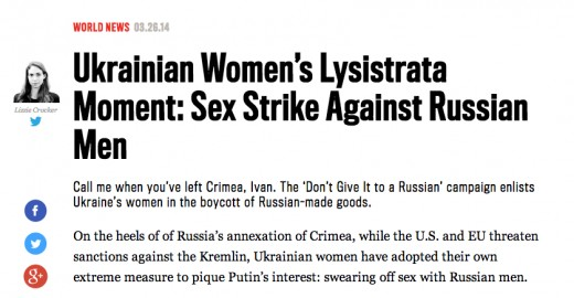 Ukrainian Women's Lysistrata Moment: Sex Strike Against Russian Men