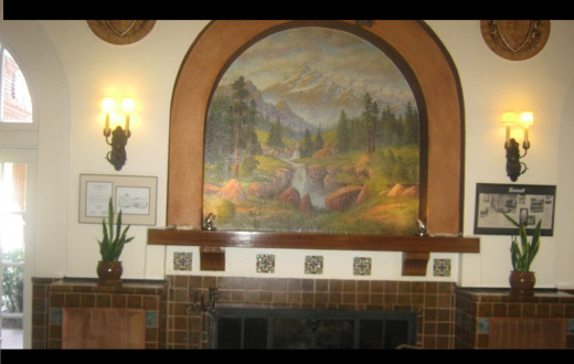 Entrance, Dramatic Wall Mural Hangs Above The Fireplace.
