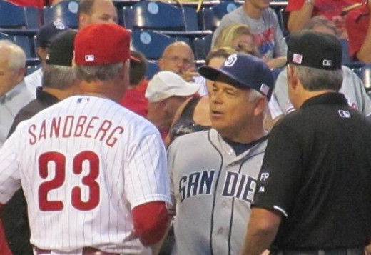 Ryne Sandberg, the best manager in 2014 at using the intentional walk, talks with Rick Renteria, now the manager of the Cubs. Renteria also has a positive score.