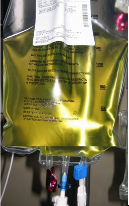 This is a picture of a TPN bag. These are usually injected with vitamins which makes the color yellow.