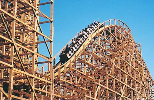 The longest and one of the tallest wooden coasters on the planet is the Ghost Rider.