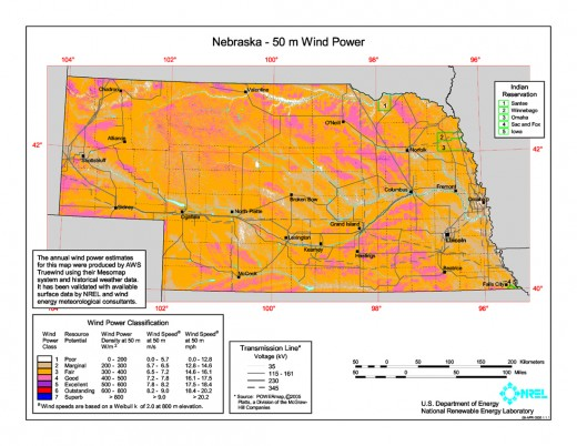 Nebraska's wind resources. Source: http://www.windpoweringamerica.gov/