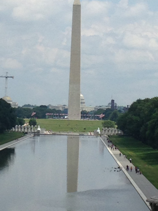 LOOKING EAST FROM THE LINCOLN MEMORIAL TO THE WASHINGTON MEMORIAL OVER THE REFLECTING POOL