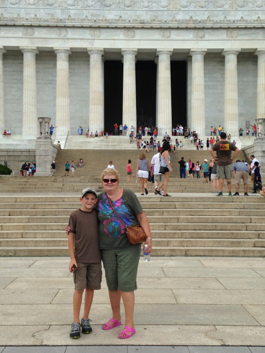 GRANDSON GRAYSON AND WIFE MARY IN FROM OF LINCOLN MEMORIAL