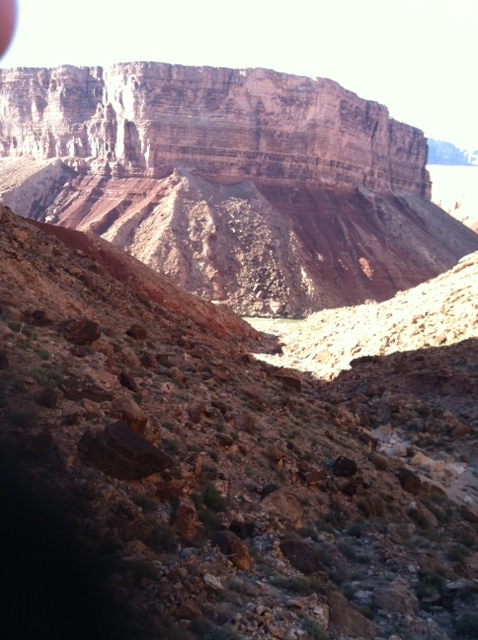 What may be an amazing view at this level in the canyon is also just a portion of what we have to climbing out of.