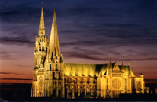 Chartres Cathedral in evening light