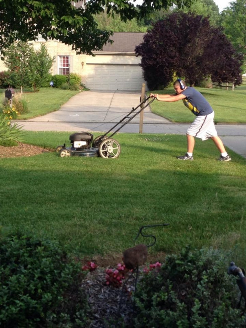 Lawn mowing is so popular as a first summer job.