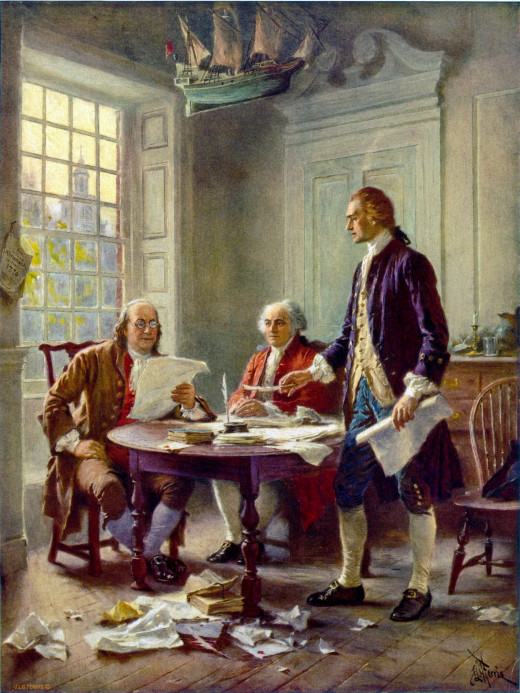 This idealized depiction of (left to right) Franklin, Adams, and Jefferson working on the Declaration (Jean Leon Gerome Ferris, 1900) was widely reprinted.[61]