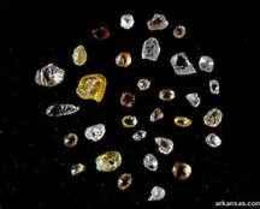 Examples of diamonds found at Crater of Diamonds State Park
