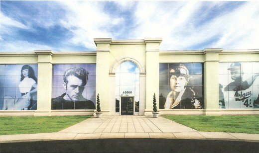 The exterior of CMG Worldwide headquarters in Indianapolis features images of some of its famous clients; (from left) Bettie Page, James Dean, Amelia Earhart and Jackie Robinson.