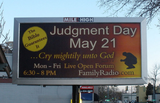 A Family Radio sign in Denver predicting the end of the world on May 21, 2011.