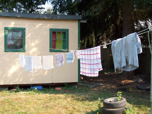 Drying clothes the old-fashioned way