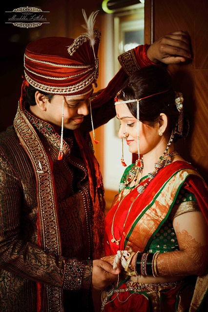Two people getting married. Indian couple getting married