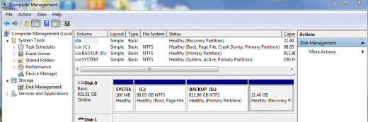 Secondary hard disk partition can be created using the disk Management tool