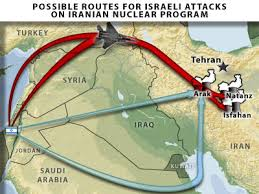 Possibl Israeli Routes of attack on Iran