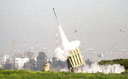 The Israeli Iron Dome defense from incoming Hamas rockets