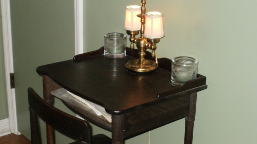 Faith collapsed onto the chair of this antique desk and spoke her fears