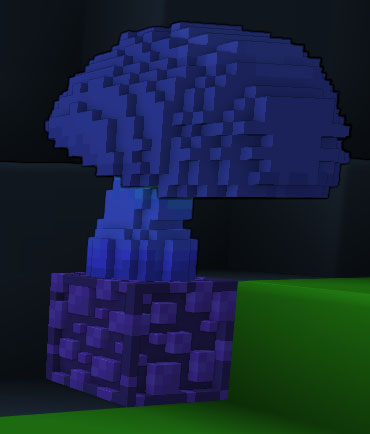 This is a mushroom on a shapestone. They are common underground in caves. Mushrooms like this make healing potions, and shapestone is required for many recipes!