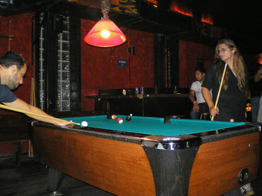 Playing Pool or snooker
