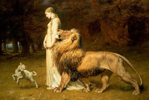 Una and the Lion by Briton Rivière (1840–1920).
