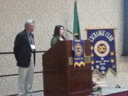 Kristen giving her speech for her scholarship in Washington and accepting her award.