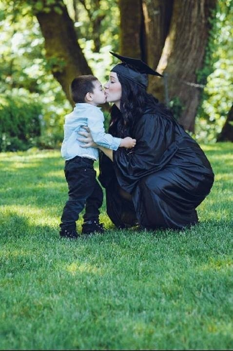 Kristen with her son Aaiden in her Senior picture.