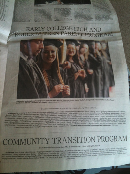 Town newspaper showing her name under her school as graduating.