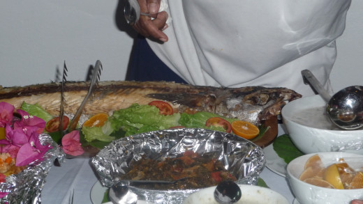 Whole fish cooked in the Lovo