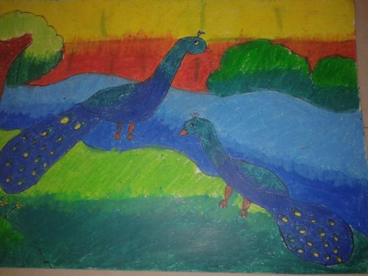 Peacocks painting