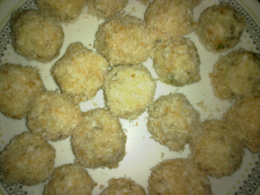 Fish balls rolled in bread crumbs