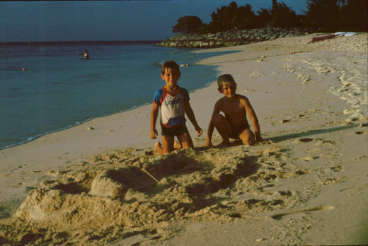 The two boys were already digging in to their new home at the beach. January 1980