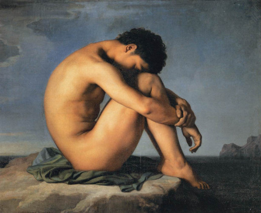 Oil on canvas by Hippolyte Flandrin, 1836, entitled Young Man By the Sea.  Currently at the Louvre Museum.