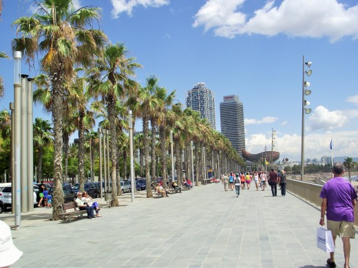 The walk along Barceloneta beach.