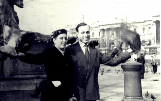 This was mum and my late father on their honeymoon in 1957, feeding the pigeons in Trafalgar Square, London.
