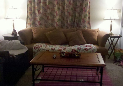 the couch in its former glory, right after I bought it. It looked good with that blanket over top of the worn part!