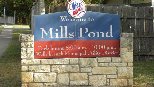 Mills Pond Entrance at Wells Branch Subdivision Austin TX