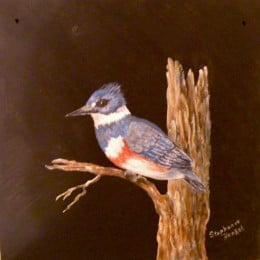 My painting of a Kingfisher on slate was a gift to my niece. It may become one of her family heirlooms.