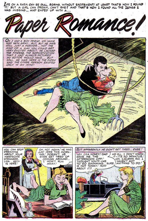 """Paper Romance"", from Daring Love #1, Ditko's first published comic work. (Gilmor, Sept-Oct 1953)."