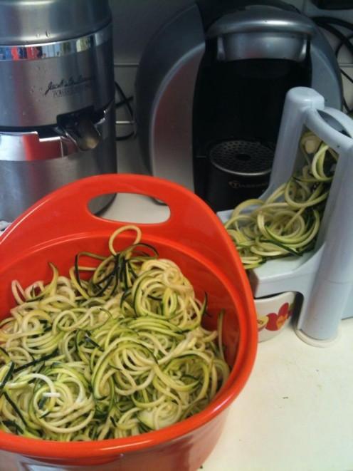 Cut zucchini noodles