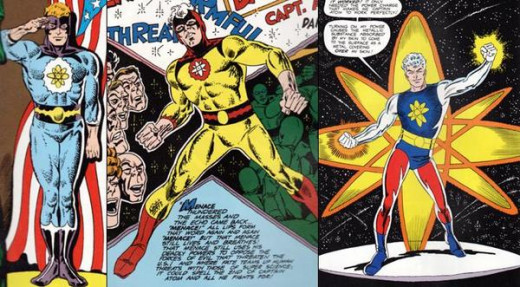 The different looks of the early Captain Atom, from Charlton Comics.