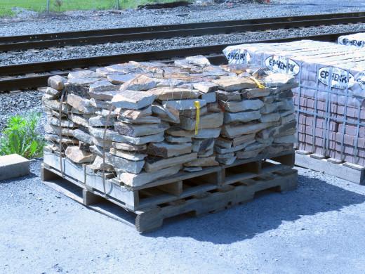 Laurel Highlands stones resided in four skids of retail packs.