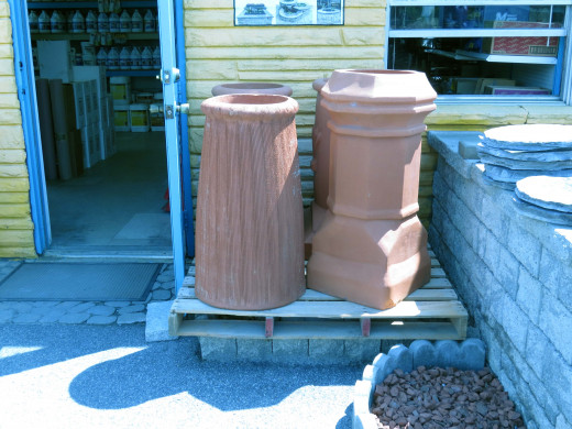 These impressive chimney pots were reduced. Minute defects in the clay.
